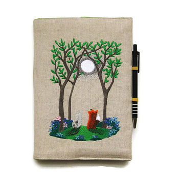 A5 notebook and pen, gift set, journal cover, reusable notebook cover, back to school, embroidered woodland fox and cat on beige linen.