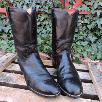 Tony Lama boots / size US mens 8.5 / EU 41 / black leather roper boots / cowboy western ropers boots