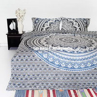 Gray Multi Lucia Queen Bohemian Ombre Mandala Bedding Duvet Set with 2 Pillow Cover on RoyalFurnish.com