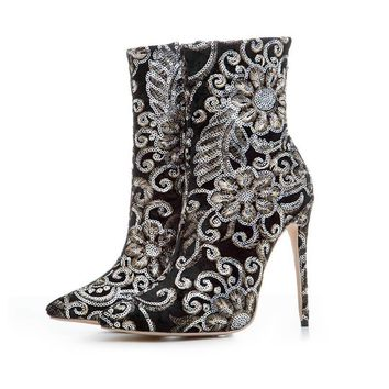 High Heel Glitter Printing Embroidery Zipper Boots