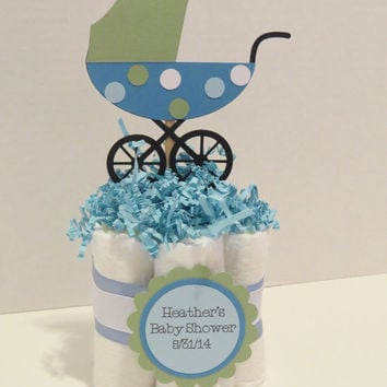 Baby Carriage Diaper Cake Centerpieces for baby shower or gift