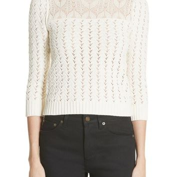 Saint Laurent Lace Yoke Knit Sweater | Nordstrom