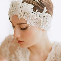 [$25.99 ] Gorgeous Lace&Pearl White Bridal Veil/ Headpiece - Edressbridal.com