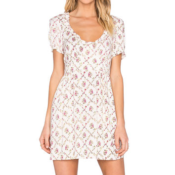 Motel Raizal Dress in Cream Flower Vine