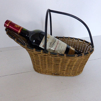 Vintage French Wine Basket,  Pourer, Cradle