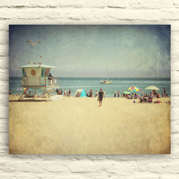 VIntage Beach photography. Santa Cruz California. Retro art. Ocean. Lifeguard tower. Summer. Canvas wall art. beach house decor. blue beige