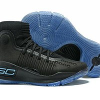 VONE4TH VAWA Men's Under Armor Curry 4 Basketball Shoes Black Blue