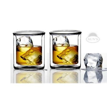 Sun's Tea (TM) 9 oz Strong Double Wall Manhattan Style old-fashioned Scotch/Whiskey Glasses, Set of 2