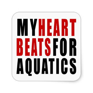 HEART BEATS FOR AQUATICSAQUATICS SQUARE STICKER