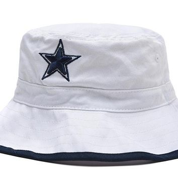 qiyif Dallas Cowboys Full Leather Bucket Hats White