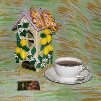 Quilling art Tea house Kitchen Décor Tea bag holder Tea house box Wooden tea box Tea cottage Handmade tea Tea bag box