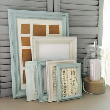 Custom Serenity Blue and White Collection of Shabby Chic Frames, Gallery Wall Frame Set, Custom Frame Set, Distressed Frames,