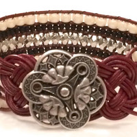 Gorgeous 5 Row Bead And Leather Wrap Cuff Bracelet