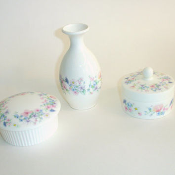 Vintage Wedgewood Fine Bone China, Bud Vase Powder Box Jewelry Dresser Trinket Jars, Set of 3, Angela Pattern, Flowers Butterflies Pink Blue