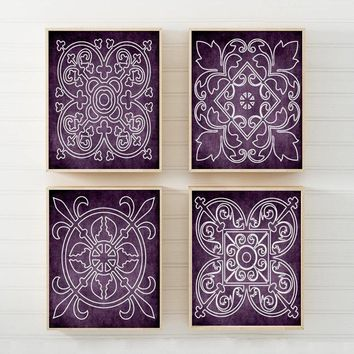 Purple Wall Art, CANVAS or Prints Medallion Outline, Purple Bathroom Decor, Purple Bedroom Decor, Matching Decor, Set of 4 Wall Hanging Art