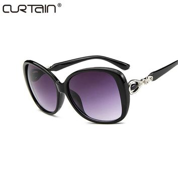 CURTAIN Fashion Vintage Oversize Cat Eye Gradient Sunglasses Women Brand Designer Big Frame Sun Glasses For Female Lady Eyewear