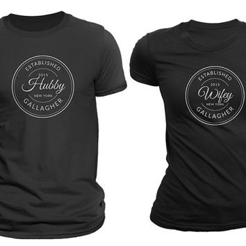 Hubby&Wifey(Established year Custom Last Name) Matching Couple T-shirts Black Set of 2
