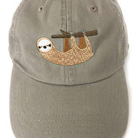 Sloth embroidered baseball cap