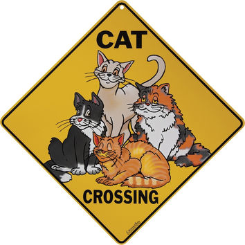 Cartoon Cat Crossing Aluminum Sign