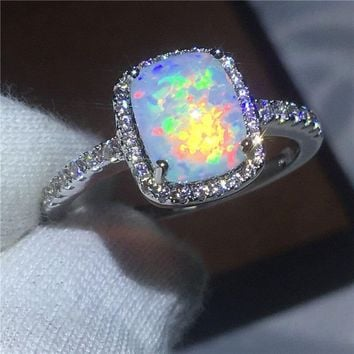 Classic couple Anniversary ring AAA Opal Cz White Gold Filled Party wedding band rings for women Men Jewelry Gift
