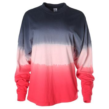 Tess Venley Women's Long Sleeve Tie- Dye Ombre Spirit Wear Jersey T-Shirt