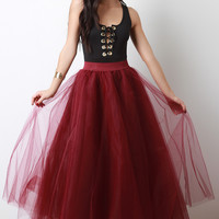 Flared Tulle Maxi Skirt