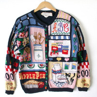 Vintage 80s 90s Cookies & Pie Granny Cardigan Ugly Sweater