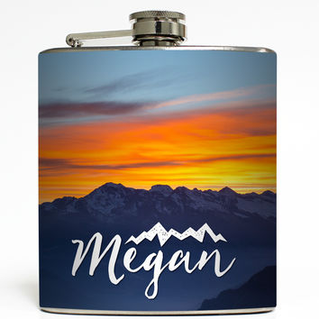 Personalized Mountain Sunset - Camping Flask