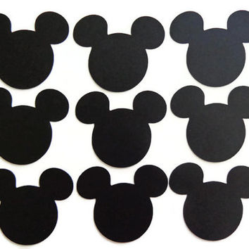 30 Die Cut Mickey Mouse Head, Mickey Mouse Ears Die Cut, Mickey/Minnie Mouse Birthday Party (2x2 3/8in.)