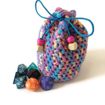 Large Dice Bag, Girls Rainbow Purser, Rainbow Crochet Yarn Bag, Drawstring Pouch, Coin Purse, Pink Yellow Blue Purple