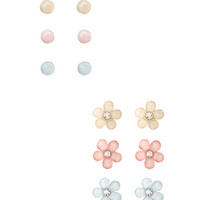 FOREVER 21 Flower & Bead Stud Set Pink/Yellow One