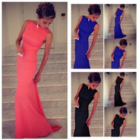 Fashion Women Solid Floor-Length Dress Sleeveless Wedding Evening Party Prom Ball Gown  Black Blue Pink = 1955596804