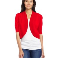 Chaus Women's Ribbed Trim Shrug, Red Pepper, Small