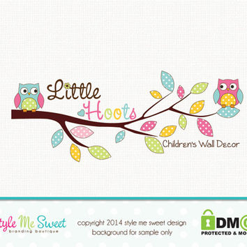 Premade Owl Logo Photography Logo Kids Boutique Logo Hand Drawn Logo Watermark Design