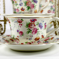 Erphila Dorset Cheery Chintz Teacups, Set of 4 Vintage Trio Cup. Saucer and Plates, Germany 12635
