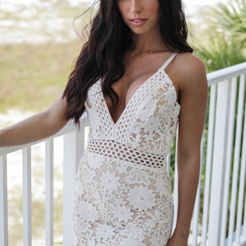 Sweet On The Inside Ivory & Nude Bodycon Dress