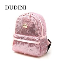 DUDINI New Fashion Travel Backpack For Teenage Girls School Bag Backpack Women Crown Sequin Bags Solid Color PU Leather Bags