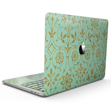 Mint and Gold Floral v12 - MacBook Pro with Touch Bar Skin Kit