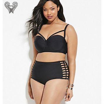 plus size swimwear high waist swimsuit super push up bikini two piece swimsuits cut out Beachwear For Women Sexy Bathing Suit