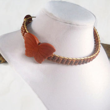 Butterfly Bead Choker Brown Beaded Choker Leather Choker