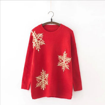 Thicken Pullover Sweater Winter Christmas Round-neck Knit Tops Jacket [8431754189]