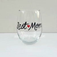 Best Mom hand painted stemless wine glass