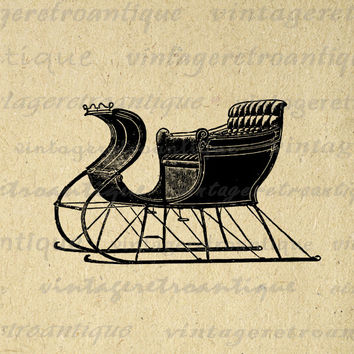 Digital Antique Sled Graphic Image Winter Download Printable Vintage Clip Art for Transfers Printing etc HQ 300dpi No.1285