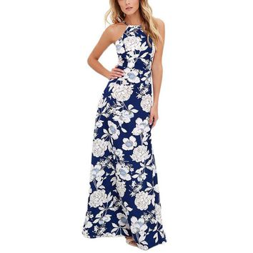 Womens Summer Maxi  Dresses New Arrival Ladies Dress Sleeveless Blue Halter Neck Floral Print Vintage Dress