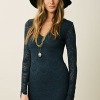 Nightcap LS Deep V Spanish Lace Dress
