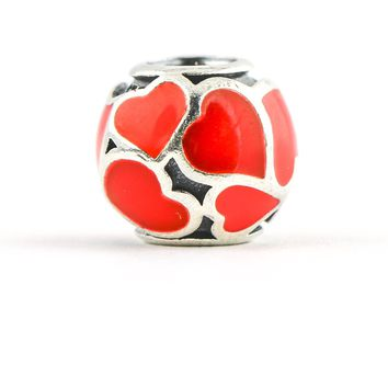 Pandora Red Hot Love Heart Laid Enamel Charm In Sterling Silver 790436ER