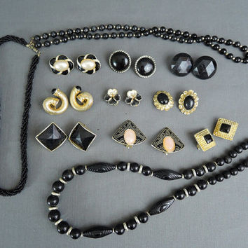 Lot of Black & Gold Vintage Jewelry, 9 Clip Earrings, 3 Necklaces, 1980s Vintage Costume Jewelry Lot