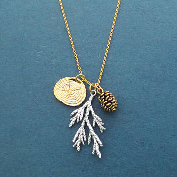 Pine tree, Pine cone, Mixed color, Necklace, Birthday, Best friends, Sister, Gift, Jewelry