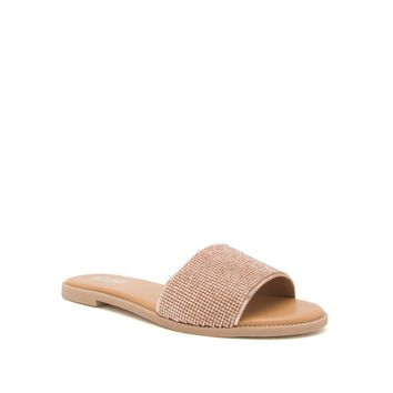 Women's One Band Slide Sandal with Rhinestone Accents
