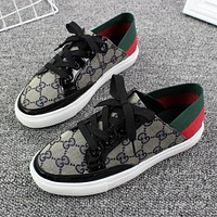 GUCCI New Popular Women Casual Canvas Low Top Sport Shoes Sneakers Grey